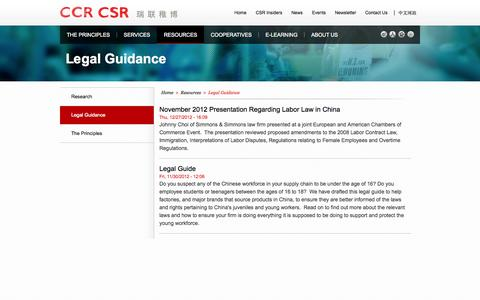 Screenshot of Terms Page ccrcsr.com - Legal Guidance | CCR CSR - captured Oct. 1, 2014