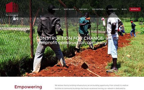 Screenshot of Home Page constructionforchange.org - Construction for Change - Infrastructure for Nonprofits - captured Dec. 12, 2015