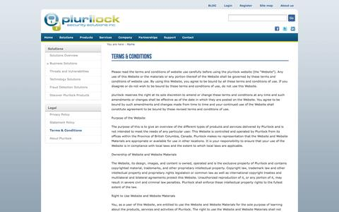 Screenshot of Terms Page plurilock.com - Terms & Conditions | Plurilock - captured Sept. 17, 2014