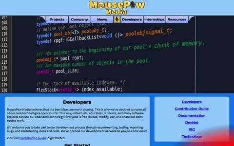 Screenshot of Developers Page mousepawmedia.com - Developers - captured July 9, 2018