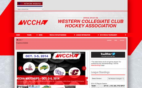 Screenshot of Home Page wccha.com - Western Collegiate Club Hockey Association   Home Page   Pointstreak Sites - captured Oct. 6, 2014