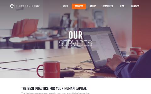 Screenshot of Services Page electronicink.com - Services | Electronic Ink - captured Dec. 8, 2015