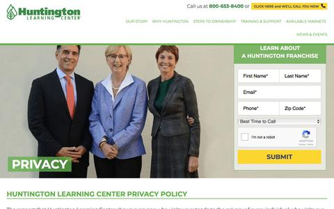 Screenshot of Privacy Page huntingtonfranchise.com - Huntington Learning Center Privacy Policy | Huntington Franchise - captured Jan. 23, 2018