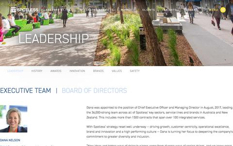 Screenshot of Team Page spotless.com - Leadership | Spotless - captured July 19, 2018