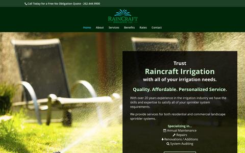 Screenshot of Home Page raincraftirrigation.com - Lawn Sprinkler and Irrigation Services in Sussex WI - captured June 11, 2017