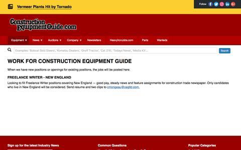 Screenshot of Jobs Page constructionequipmentguide.com - Jobs :: Construction Equipment Guide - captured July 21, 2018