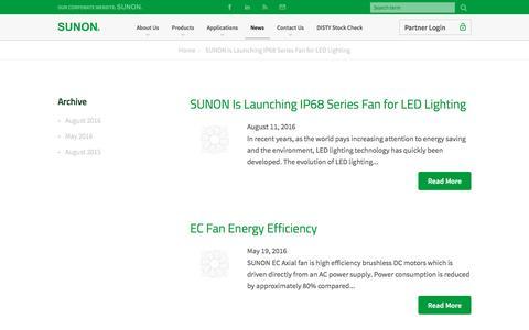 Screenshot of Press Page sunonusa.com - News - Sunon - captured Nov. 18, 2016