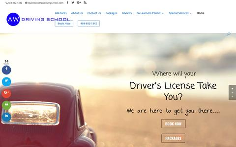 Screenshot of Home Page awdrivingschool.com - Driving School - AW Driving School - Lehigh Valley - Learn 2 Drive in 6 Hrs - captured May 28, 2017