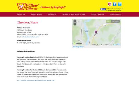 Screenshot of Contact Page Maps & Directions Page willowtreefarm.com captured Feb. 17, 2016
