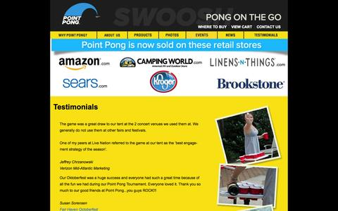 Screenshot of Testimonials Page pointpong.com - Portable Beer Pong Table, Floating Beer Pong Table | Point Pong | Point Pong - captured Oct. 6, 2014