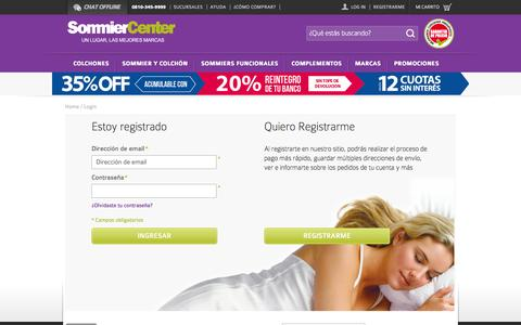 Screenshot of Login Page sommiercenter.com - Sommier Center Identificador de cliente - captured Sept. 23, 2014