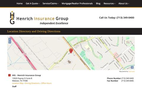 Screenshot of Locations Page higtexas.com - Henrich Insurance Group Locations and Driving Directions - captured Nov. 9, 2018
