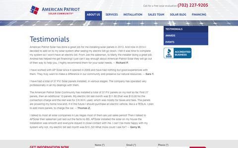 Screenshot of Testimonials Page apsolar.com - American Patriot Solar Community - Testimonials - captured Oct. 4, 2014
