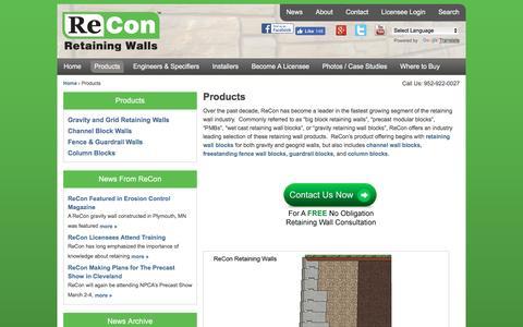 Screenshot of Products Page reconwalls.com - Big Block Retaining Walls - captured Dec. 10, 2016