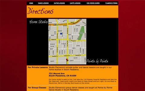 Screenshot of Maps & Directions Page studioflamenco.com - Studio Flamenco Directions - captured Oct. 9, 2014