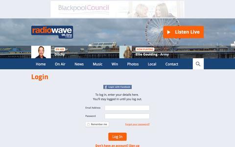 Screenshot of Login Page wave965.com - Login | Club | Club - Radio Wave - captured Feb. 22, 2016