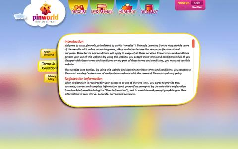 Screenshot of Terms Page pinworld.co - Pinworld - About us | Terms and Conditions | Privacy Policy - captured Oct. 27, 2014