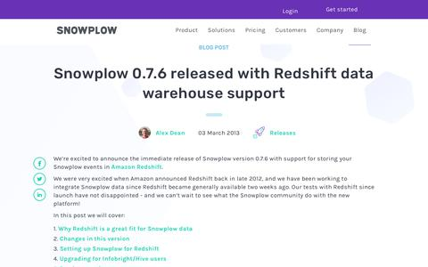 Screenshot of Support Page snowplowanalytics.com - Snowplow 0.7.6 released with Redshift data warehouse support - captured Feb. 10, 2020