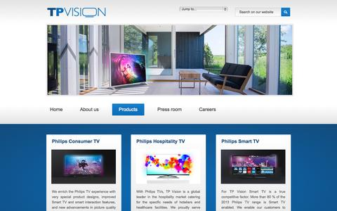 Screenshot of Products Page tpvision.com - TP Vision Global - Products - captured Sept. 19, 2014