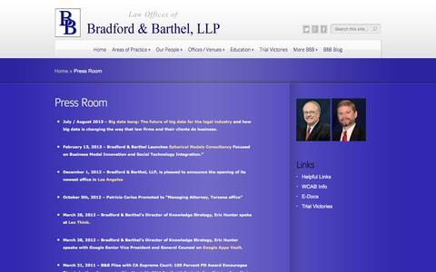 Screenshot of Press Page bradfordbarthel.com - Press Room | Law Offices of - captured July 30, 2016