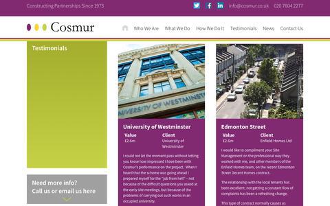 Screenshot of Testimonials Page cosmur.co.uk - Testimonials | Cosmur Construction - captured Sept. 4, 2017