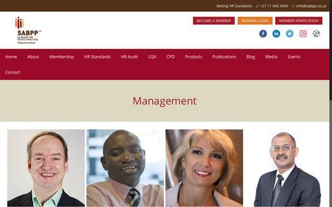 Screenshot of Team Page sabpp.co.za - SABPP Management - captured May 26, 2017