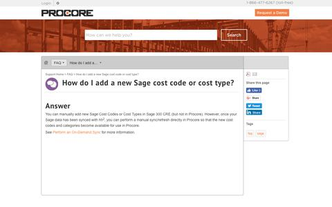 How do I add a new Sage cost code or cost type? - Procore