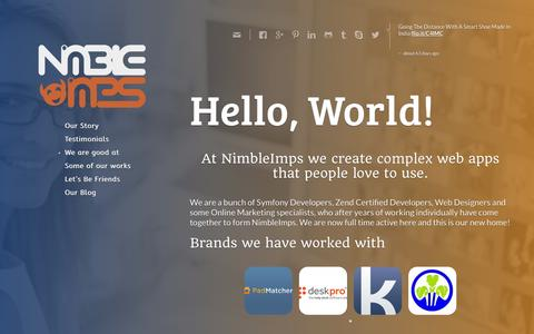 Screenshot of Home Page nimbleimps.com - Zend Framework, Symfony development outsourcing Company India - captured Sept. 30, 2014