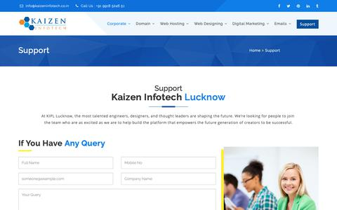 Screenshot of Support Page kaizeninfotech.co.in - Index - captured Oct. 21, 2018