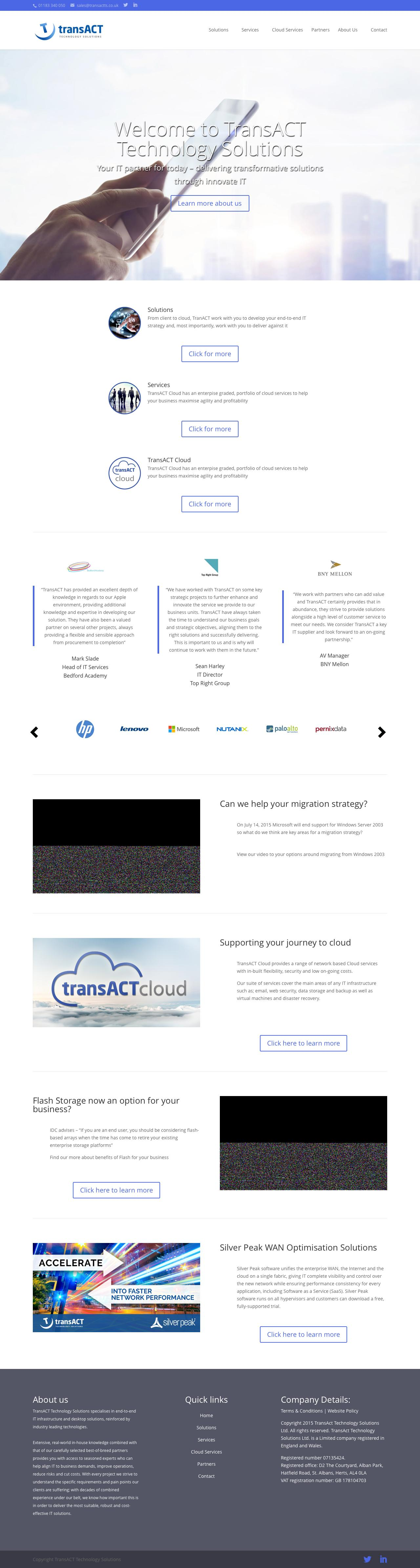 Web Design Example | A page on transactts co uk | Crayon