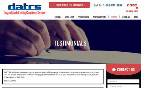 Screenshot of Testimonials Page datcs.com - DOT Drug Testing & Substance Screening Services in Texas & Louisiana - DATCS - captured Oct. 13, 2017