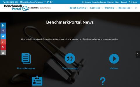 Screenshot of Press Page benchmarkportal.com - Contact Center News - captured June 1, 2017