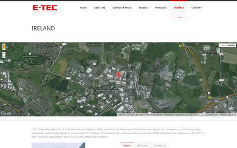 Screenshot of Contact Page e-tecpowerman.com - IRELAND | E-TEC Power Management - captured Oct. 1, 2014