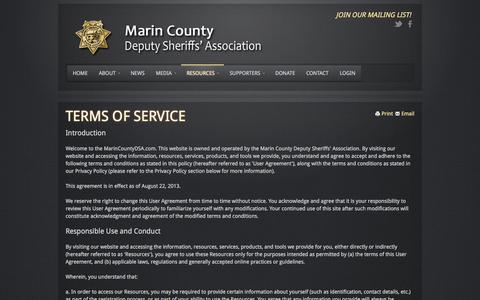 Screenshot of Terms Page marincountydsa.com - Terms Of Service - captured Oct. 6, 2017