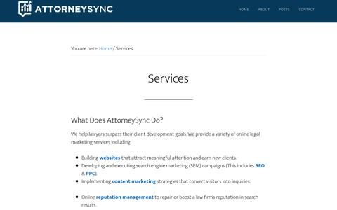 Screenshot of Services Page attorneysync.com - Services - captured Aug. 14, 2019