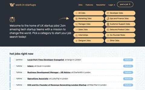 Screenshot of Home Page workinstartups.com - Startup Jobs | Number 1 Start up Job Site | WorkinStartups.com - captured Aug. 3, 2019