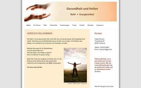 Screenshot of Home Page gesundheitundheilen.com - Gesundheit und Heilen mit Reiki in Hamburg - Gesundheit und Heilen in Hamburg - Informationen zu Reiki und Gesundheitsprodukten von Helga Dempzin - captured June 10, 2016