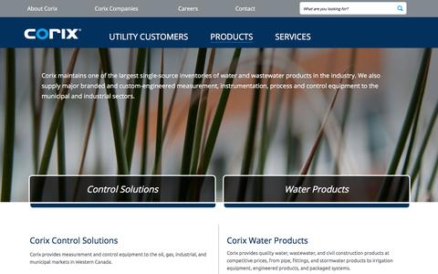 Screenshot of Products Page corix.com - Distribution of Water Products and Control Solutions | Corix - captured July 9, 2017