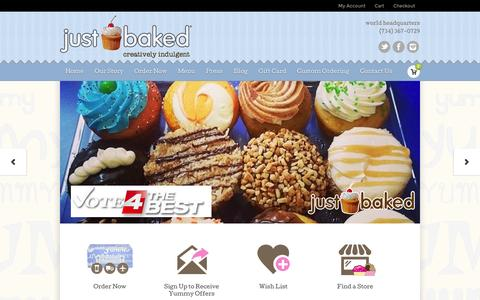 Screenshot of Home Page justbakedshop.com - Just Baked ::: A Cupcake Shop and Bakery ::: Metro Detroit, Southeast Michigan, Livonia, Royal Oak, Ann Arbor, Novi - captured Oct. 6, 2014
