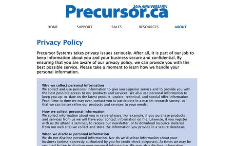 Screenshot of Privacy Page precursor.ca - Precursor Systems   Privacy Policy - captured Oct. 3, 2014