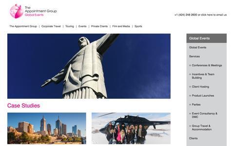 Screenshot of Case Studies Page appointmentgroup.com - Logistics Management & Business Travel Case Studies - captured July 10, 2016