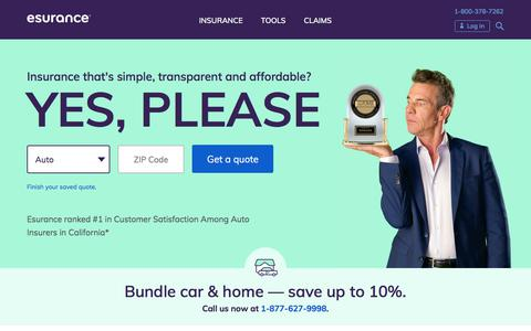Screenshot of Home Page esurance.com - Esurance Car Insurance Quotes & More - captured Sept. 29, 2019