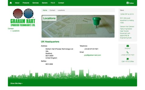 Screenshot of Contact Page Locations Page graham-hart.com - Contact | Locations | Design and Manufacture of Heat Transfer Equipment | Graham Hart (Process Technology) Ltd. - captured Sept. 10, 2017