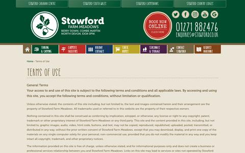 Screenshot of Terms Page stowford.co.uk - Terms of Use - Stowford Farm Meadows - captured Oct. 18, 2018