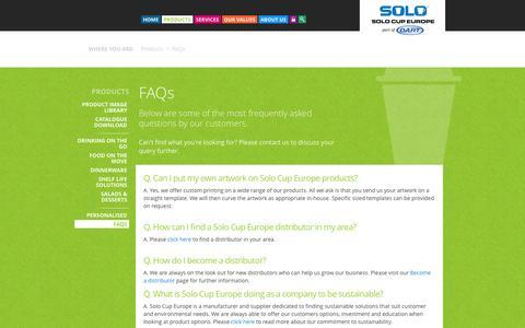 Screenshot of FAQ Page solocupeurope.co.uk - FAQs - captured Oct. 29, 2014