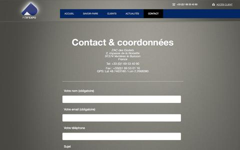 Screenshot of Contact Page polyexpo.com - Contact & coordonnées | Poly Expo - captured Sept. 26, 2014