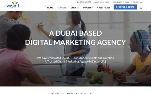 Screenshot of Services Page wisoftsolutions.com - Digital Marketing Agency in Dubai, UAE | Wisoft Solutions - captured Sept. 7, 2019