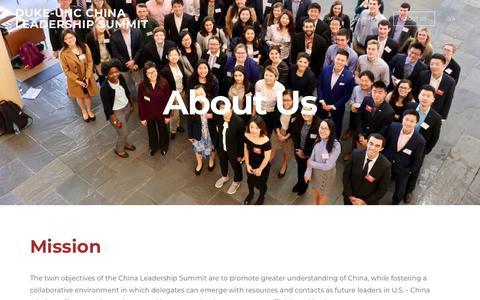 Screenshot of About Page dukeunccls.com - About Us - DUKE-UNC CHINA LEADERSHIP SUMMIT - captured Nov. 14, 2018
