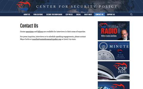 Screenshot of Contact Page centerforsecuritypolicy.org - Contact Us - Center for Security Policy - captured July 16, 2018