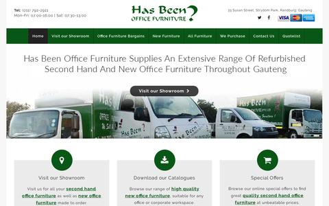 Screenshot of Home Page hasbeens.co.za - Office Furniture for Sale in Johannesburg | New & Used | Has Been - captured Sept. 27, 2018